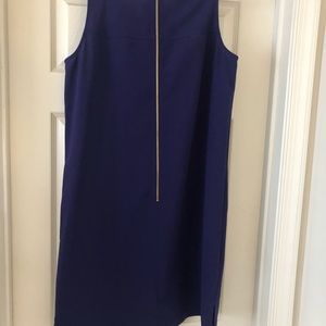 Purple sheath dress with gold zipper accent